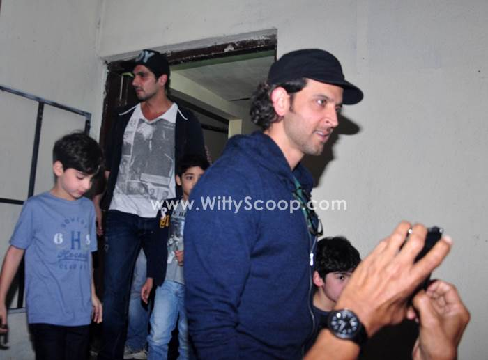 Hrithik Roshan And Zayed Khan With Their Kids At PVR (1)