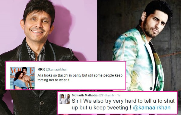 Sidharth Malhotra Loses Cool On KRK's tweet on Alia Bhatt