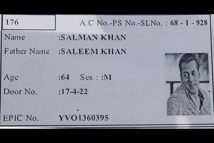 Salman Khan's photo on ID card of an voter in Hyderabad