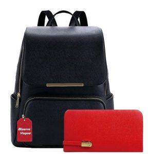 Bizarre Vogue Stylish College Bags Backpacks & Clutch Combo For Women & Girls (Black)