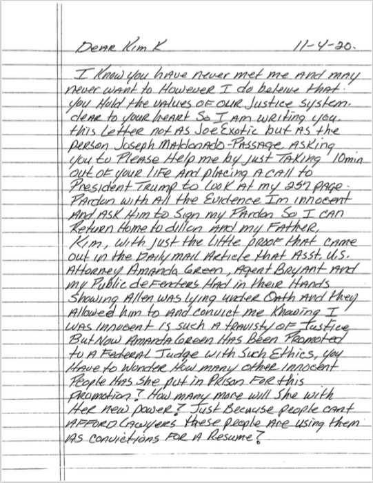 Joe Exotic Writes Letter To Kim Kardashian From Prison To Ask Help