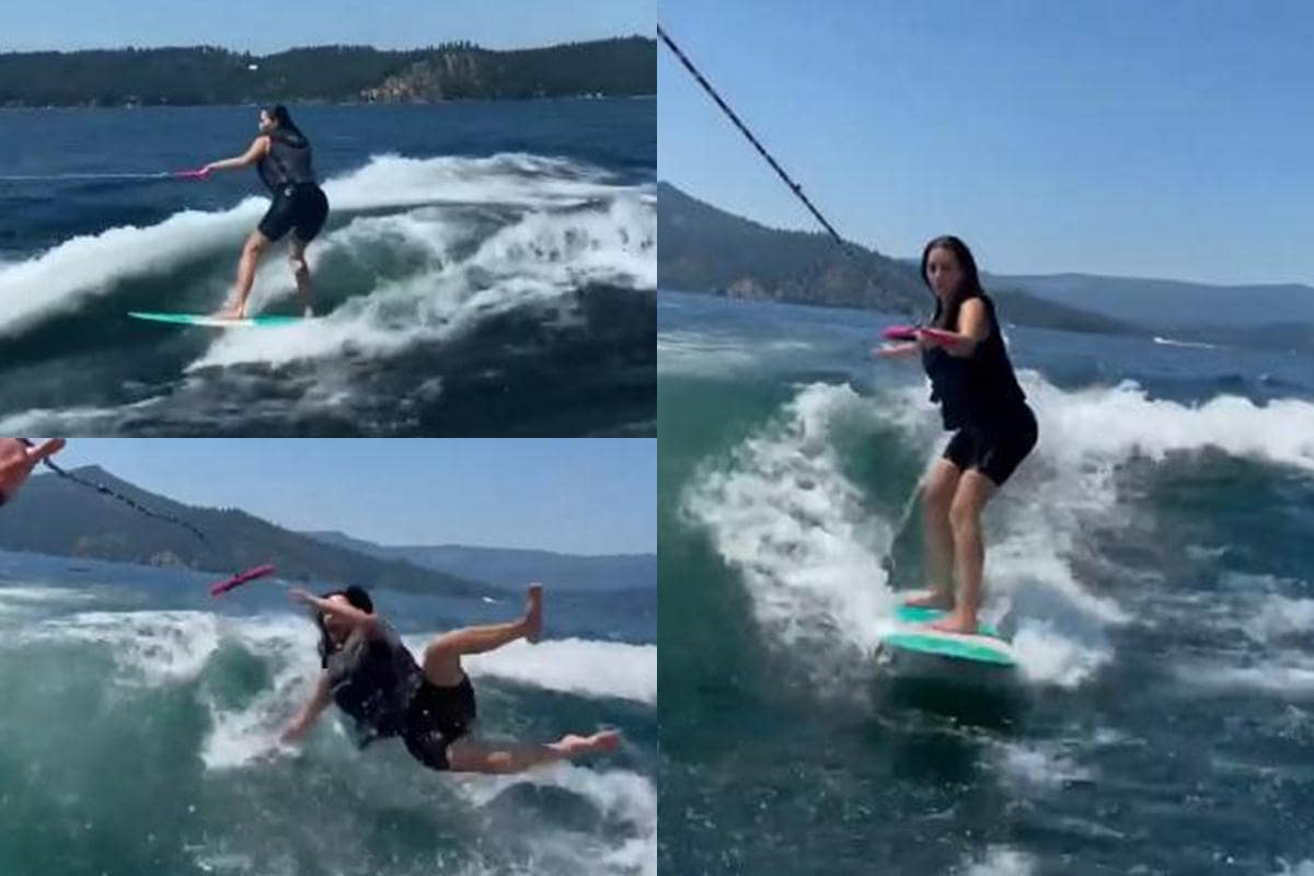 Kim Kardashian Wipes Outs During Wakesurfing On A Family Vacation