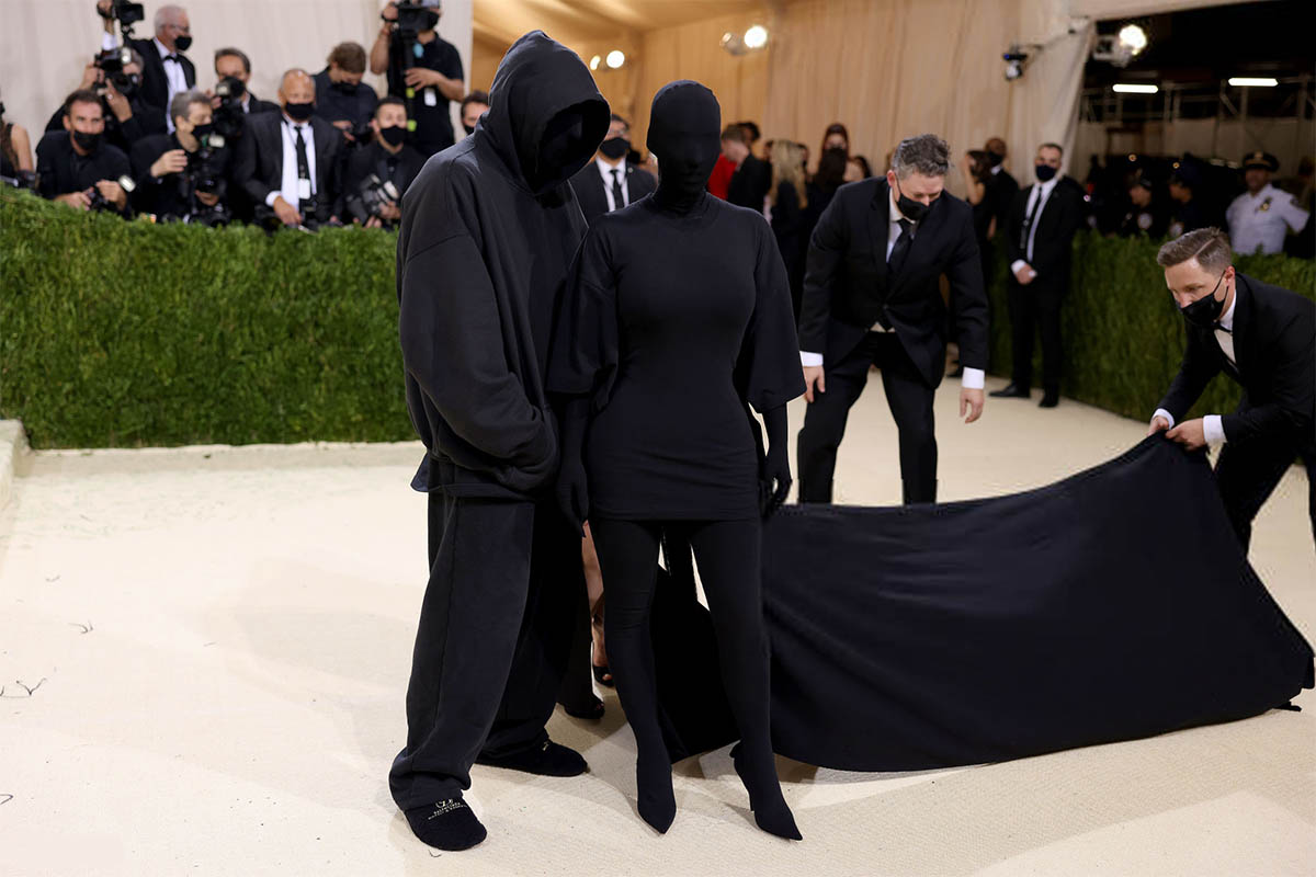 Kanye West, Kim Kardashian West and Demna Gvasalia attend The 2021 Met Gala Celebrating In America: A Lexicon Of Fashion at Metropolitan Museum of Art on September 13, 2021 in New York City. (Photo by John Shearer/WireImage)